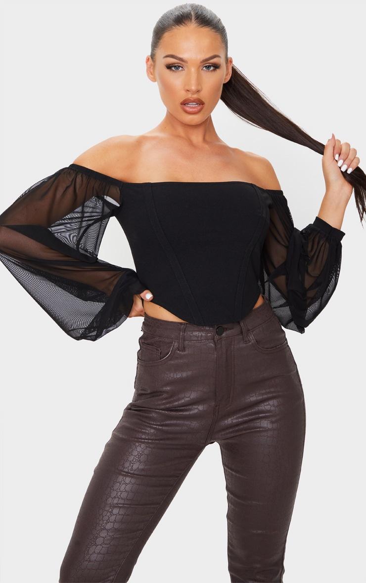 Black Crepe Bardot Chiffon Sleeve Crop Top 3