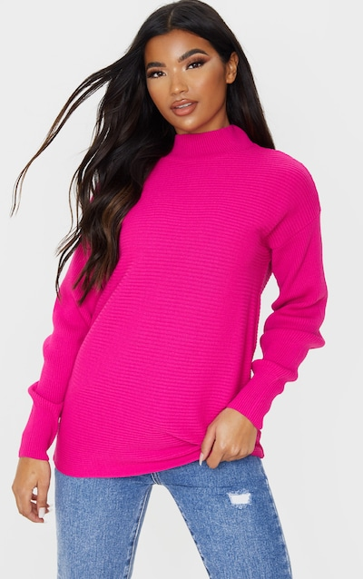 Hot Pink Full Sleeve Ribbed High Neck Jumper