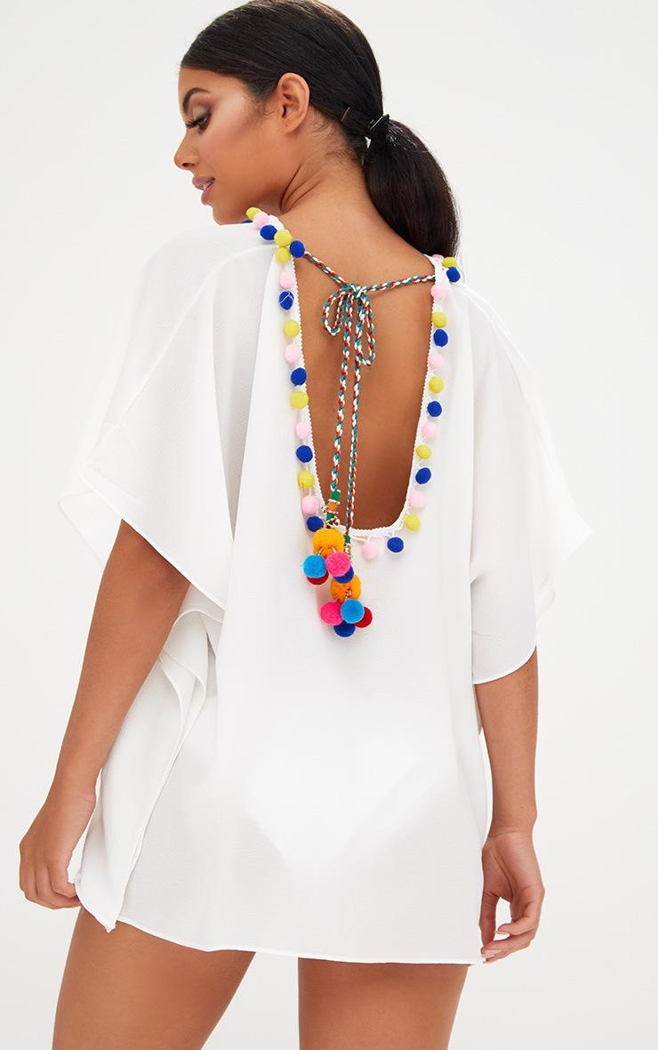 White Pompom Trim Beachwear Kimono 1