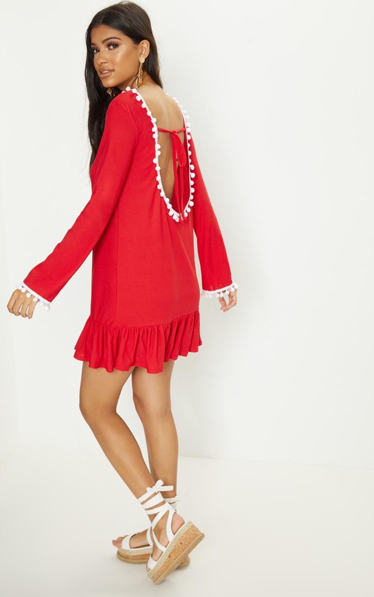 Red Pom Pom Trim Backless Smock Dress 1