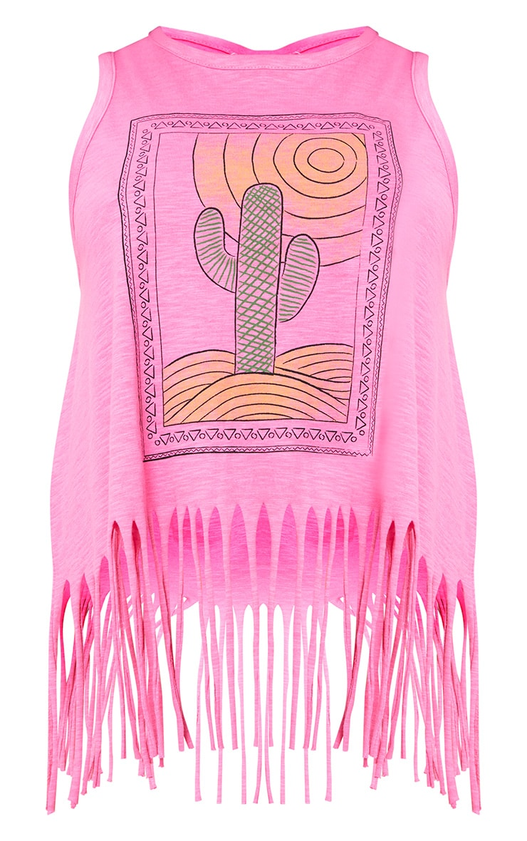 Pink Beachwear Tassel Tank Top  3