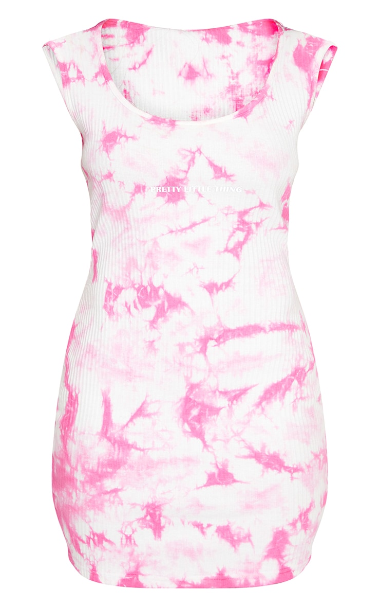 PRETTYLITTLETHING Pink Reflective Thick Rib Tie Dye Bodycon Dress 5