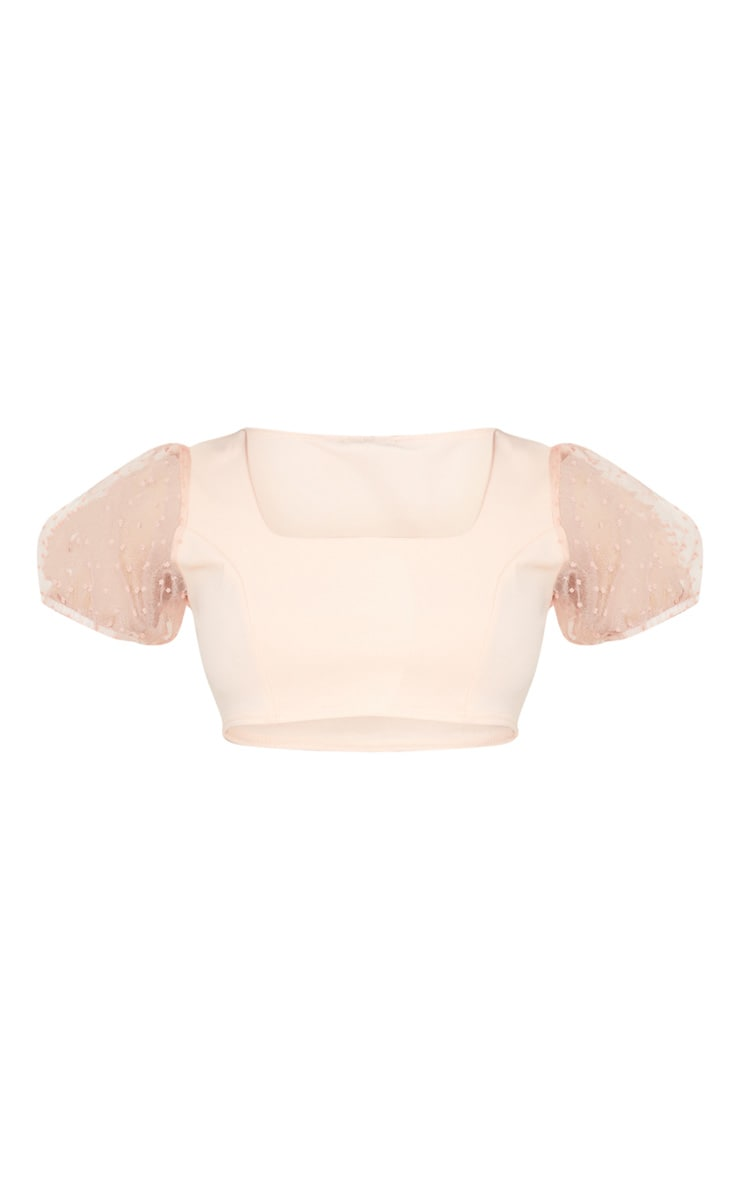 Petite Soft Baby Pink Organza Puff Sleeve Crop Top 5