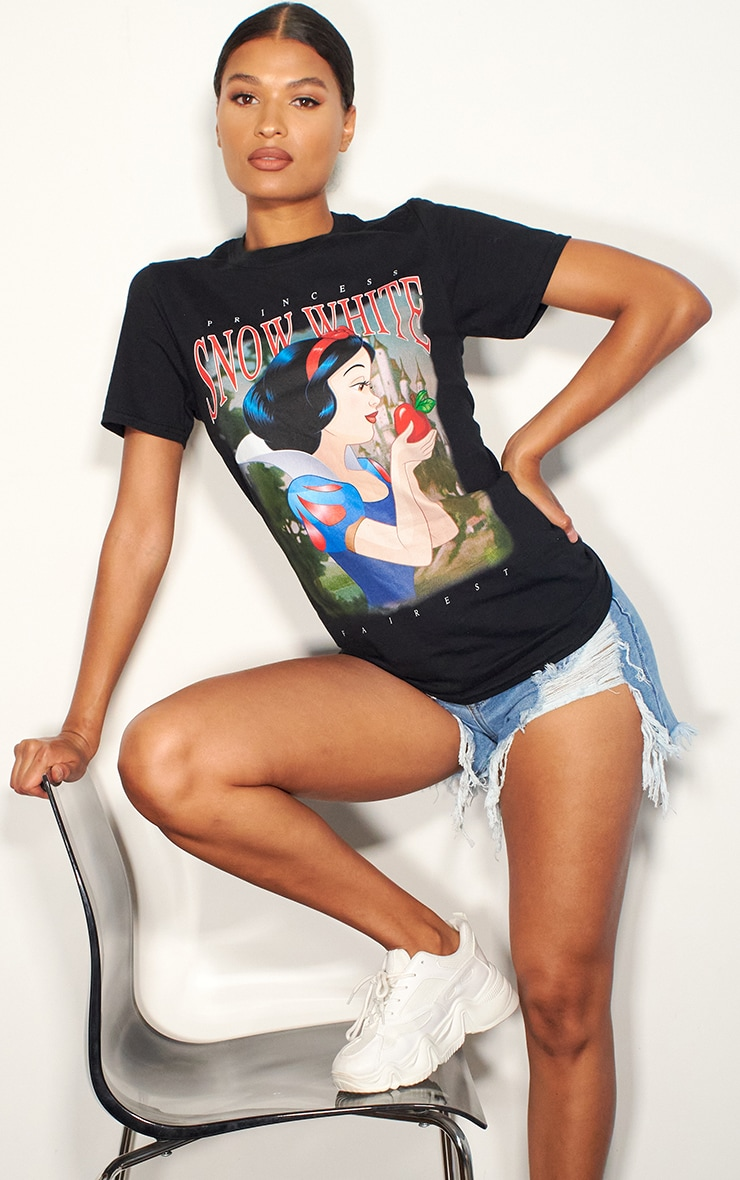 Black Disney Snow White Printed T Shirt 1