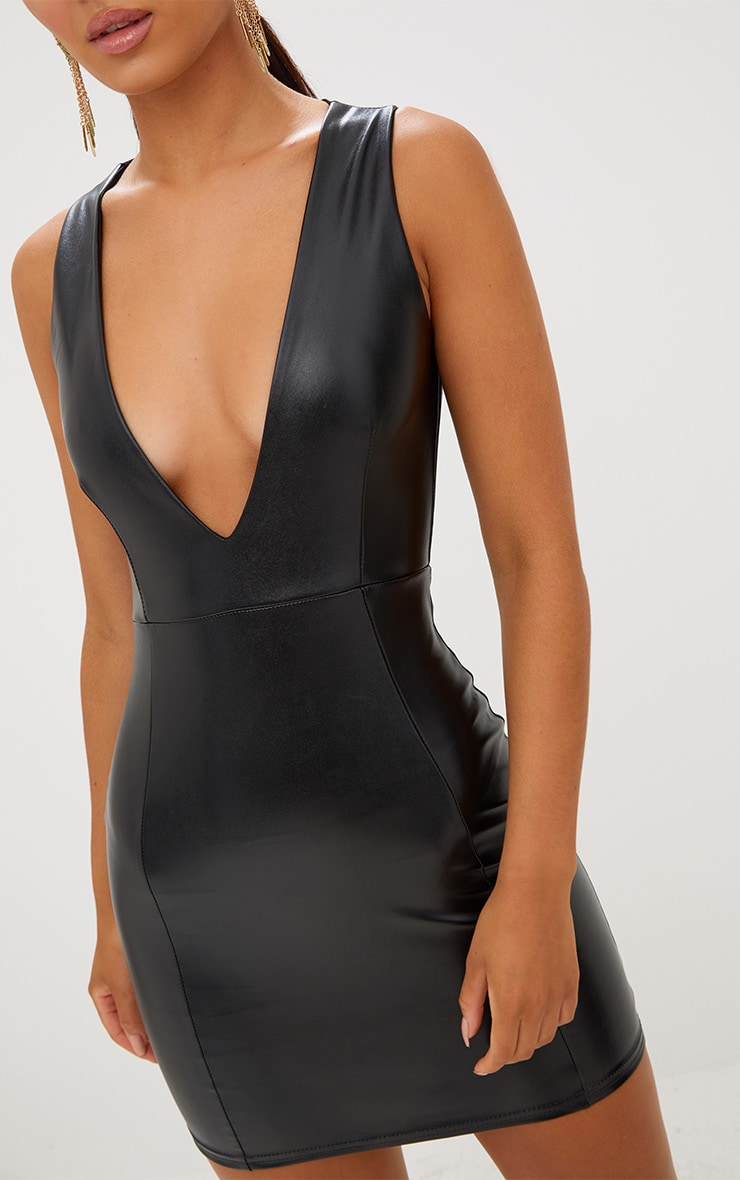 Black PU Plunge Bodycon Dress 5