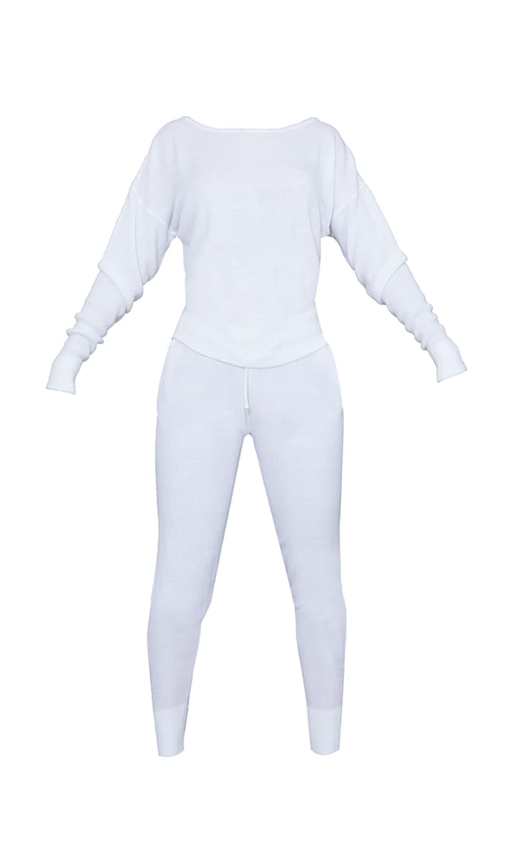 White Jogger Jumper Knitted Lounge Set 5