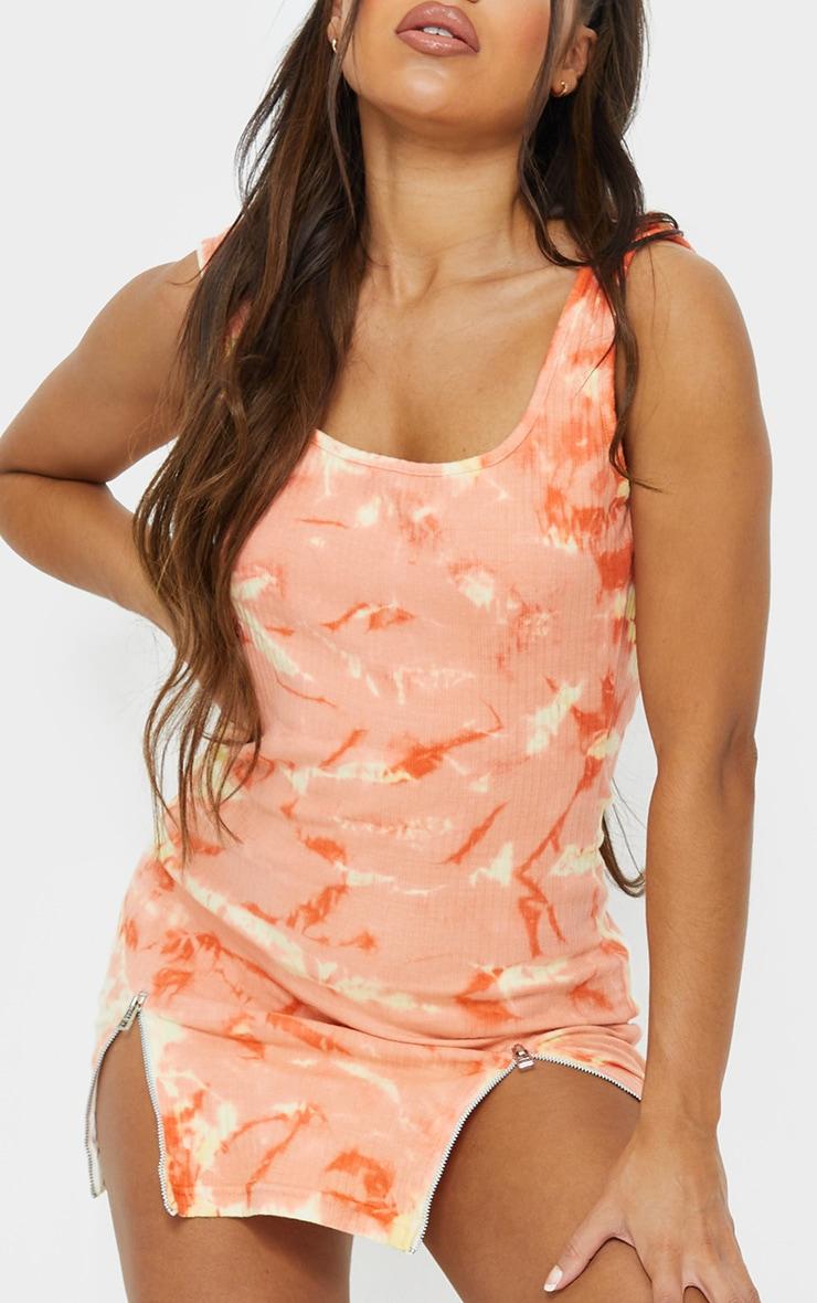 Peach Tie Dye Ribbed Zip Hem Sleeveless Bodycon Dress 4