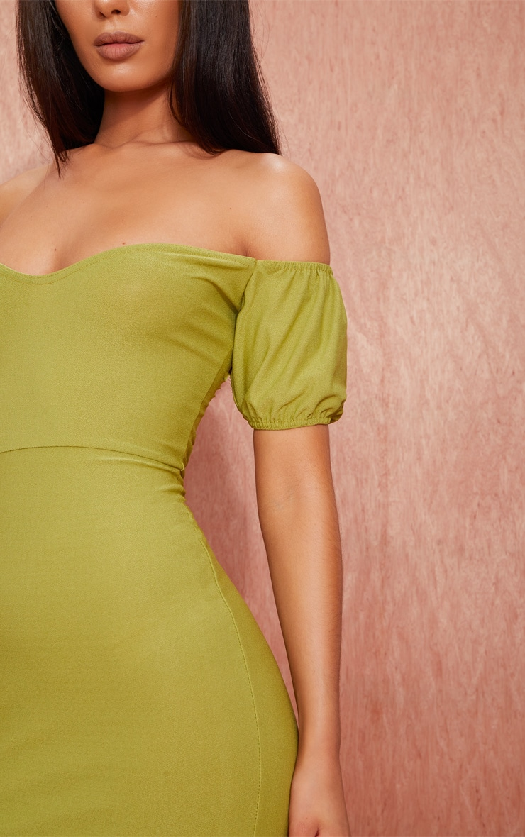 Olive Green Crepe Bardot Puff Sleeve Bodycon Dress 4