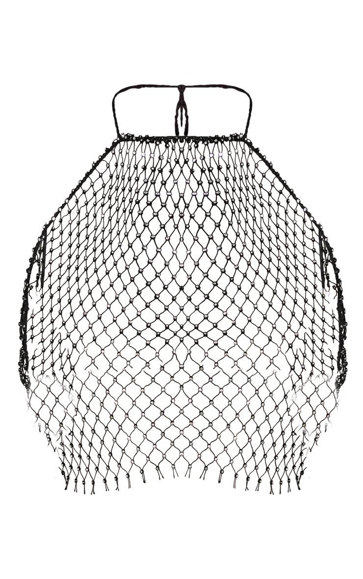 Black Diamante Net Crop Top Body Jewellery 3