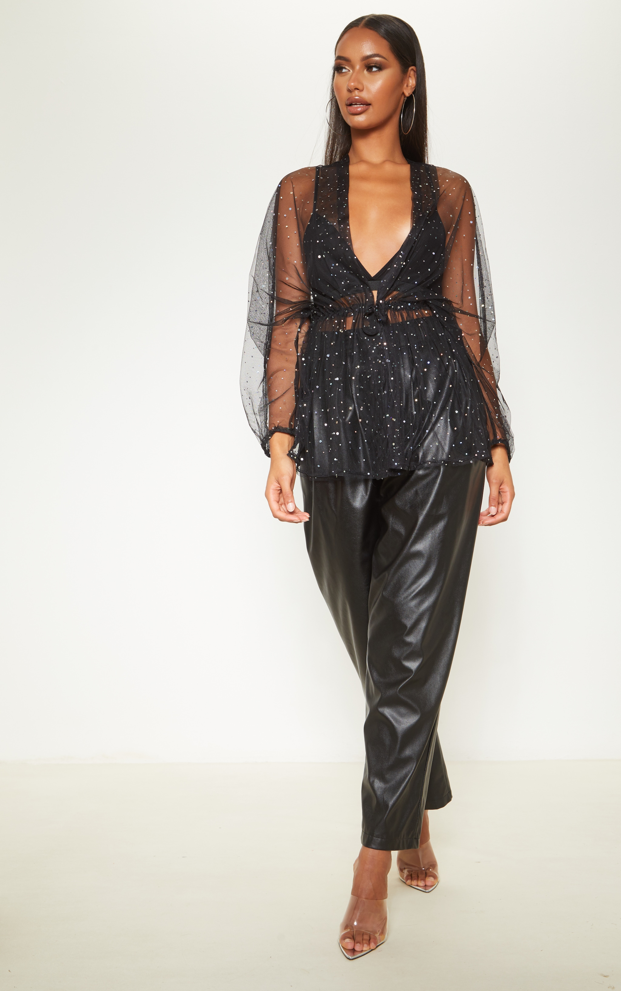 Black Mesh Diamante Ruched Waist Shirt  3