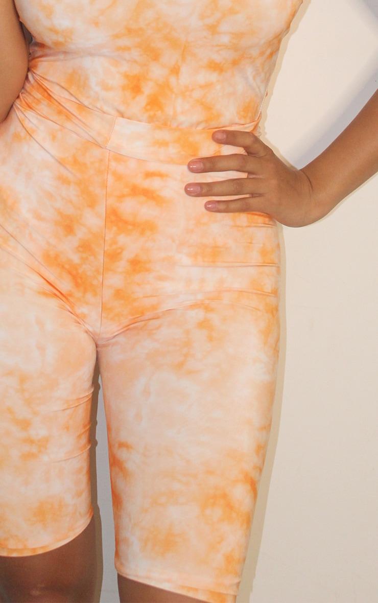 Shape Orange Tie Dye Slinky High Waisted Bike Shorts 4