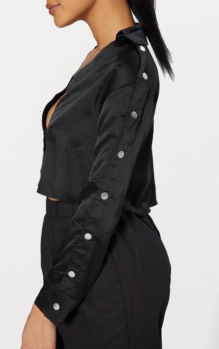 Black Satin Popper Sleeve Crop Shirt  5