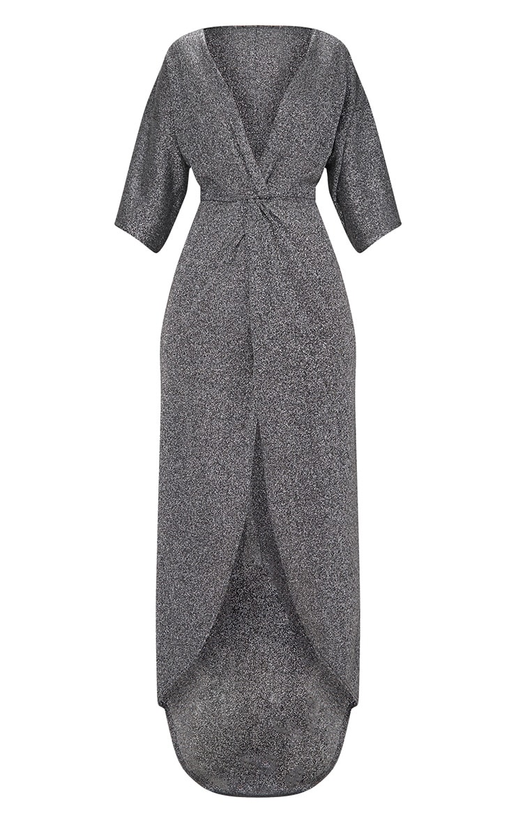 Silver Plunge Knot Detail Batwing Sleeve Extreme Split Maxi Dress 3