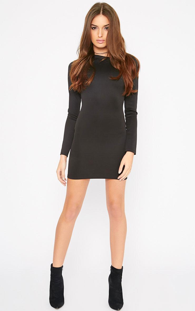 India Black Slash Neck Bodycon Dress 3