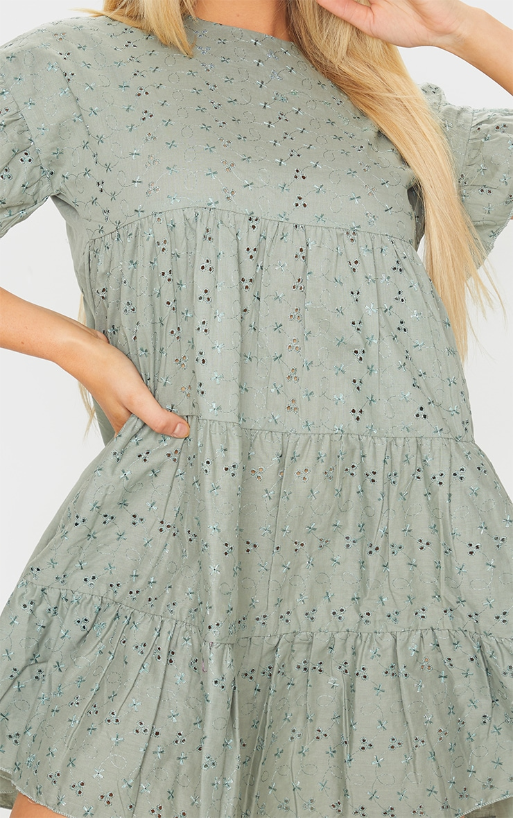 Sage Green Broderie Anglaise Smock Dress 4