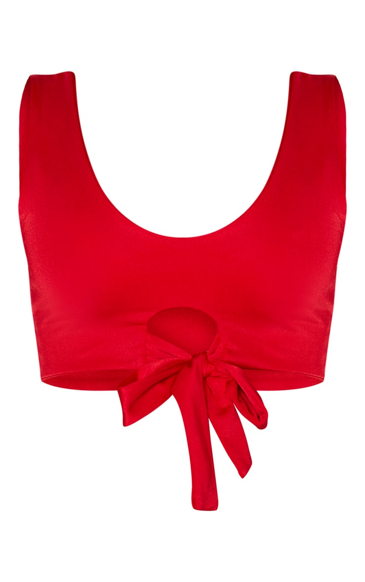 Red Scoop Neck Tie Front Bikini Top 3