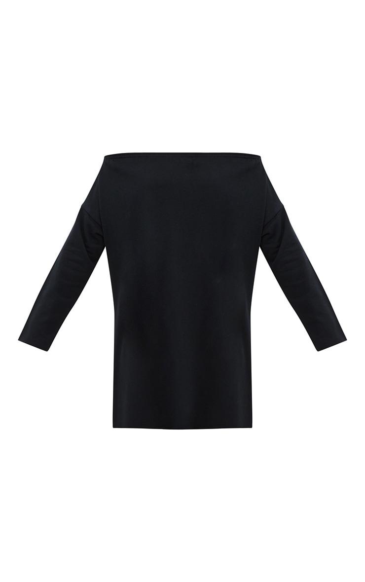 Black Bardot Raw Edge Sweater Dress 3