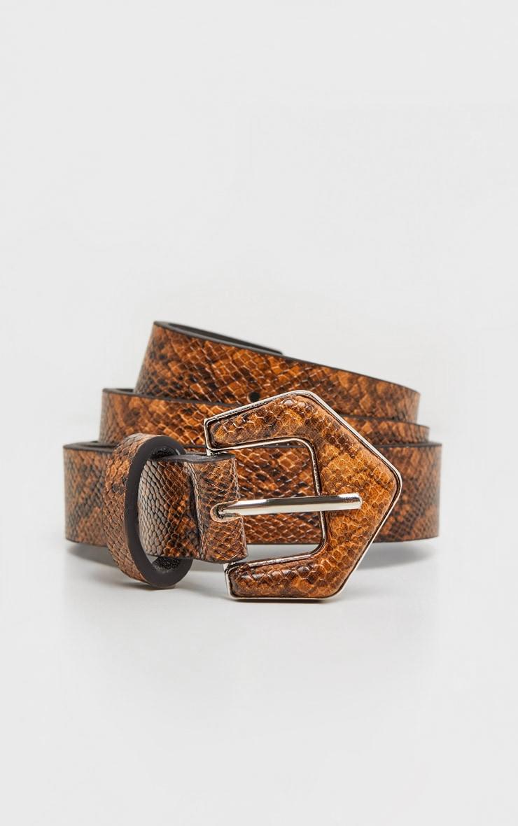 Tan Snake Angled Buckle Jeans Belt 2