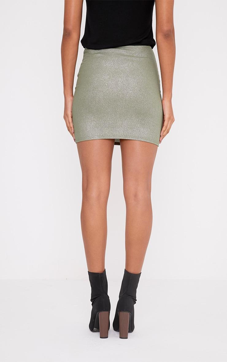 Otavia Khaki Metallic Ribbed Mini Skirt 4