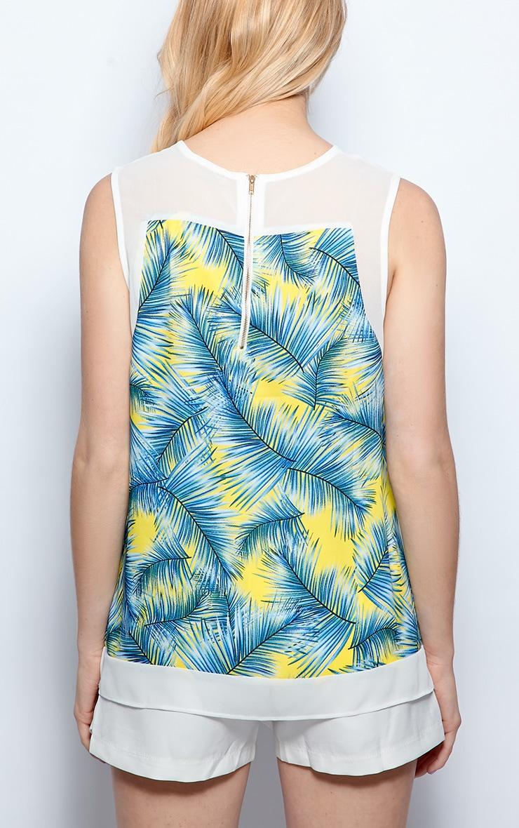 Amelia Blue Sheer Tropical Palm Print Vest  2