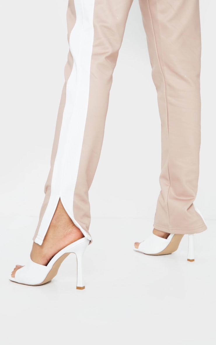 White Square Toe Mule High Heels 2