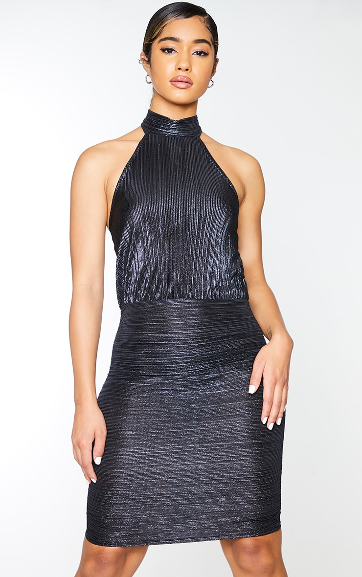 Black Glitter Plisse Halterneck Bodycon Dress 1