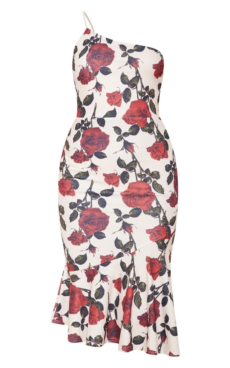 Nude Rose Print Strappy One Shoulder Frill Hem Midi Dress 3