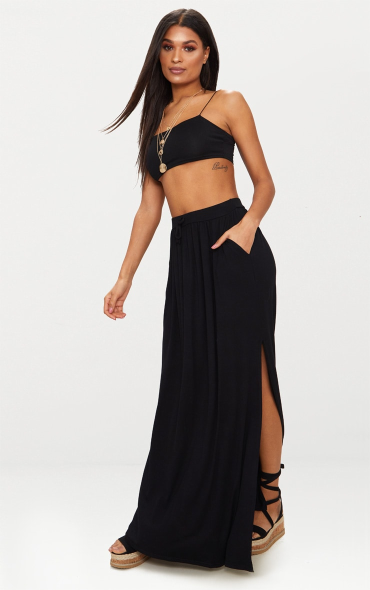 Black Jersey Drawstring Maxi Skirt