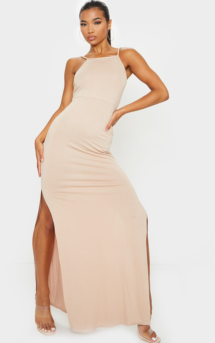 Stone Racer Neck Low Back Maxi Dress 3