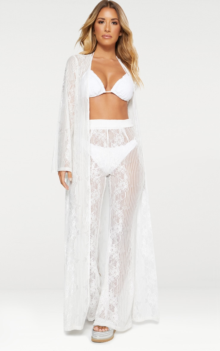 White Lace Insert Beach Kimono 1