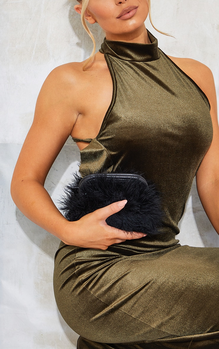 Black Marabou Feather Clutch Bag 1