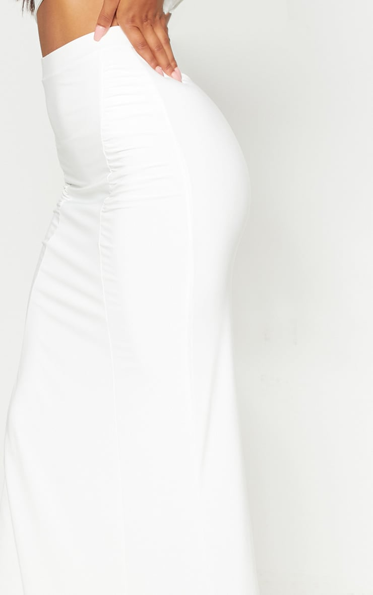 Cream Slinky Ruched Detail Maxi Skirt 5