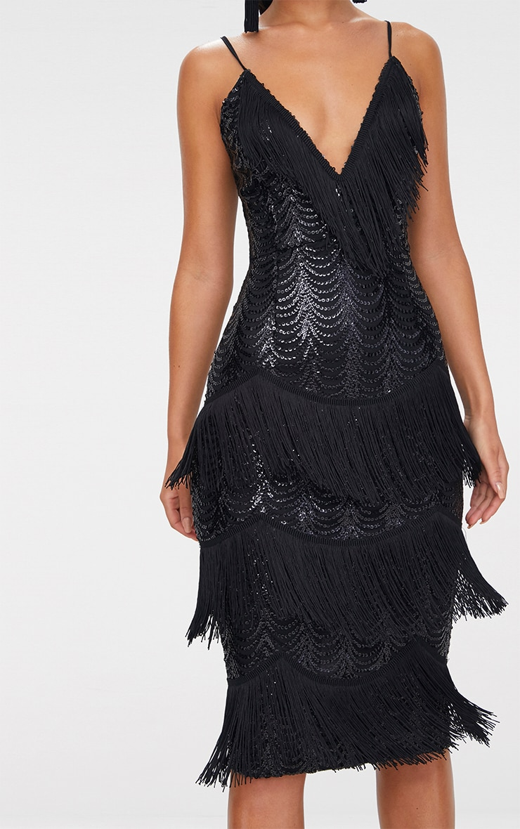 Black Sequin Tassel Detail Strappy Midi Dress  5