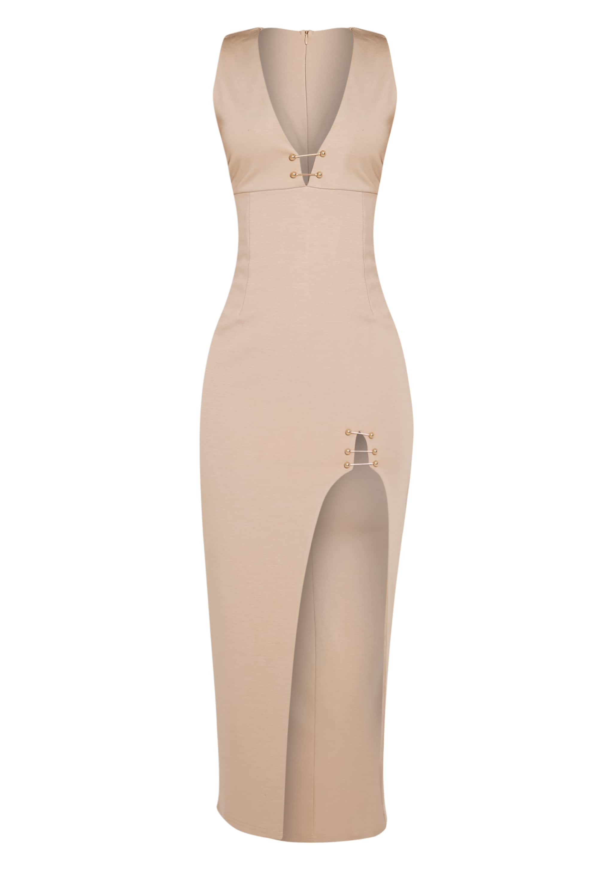 Ally Taupe Pin Detail Plunge Midi Dress 3