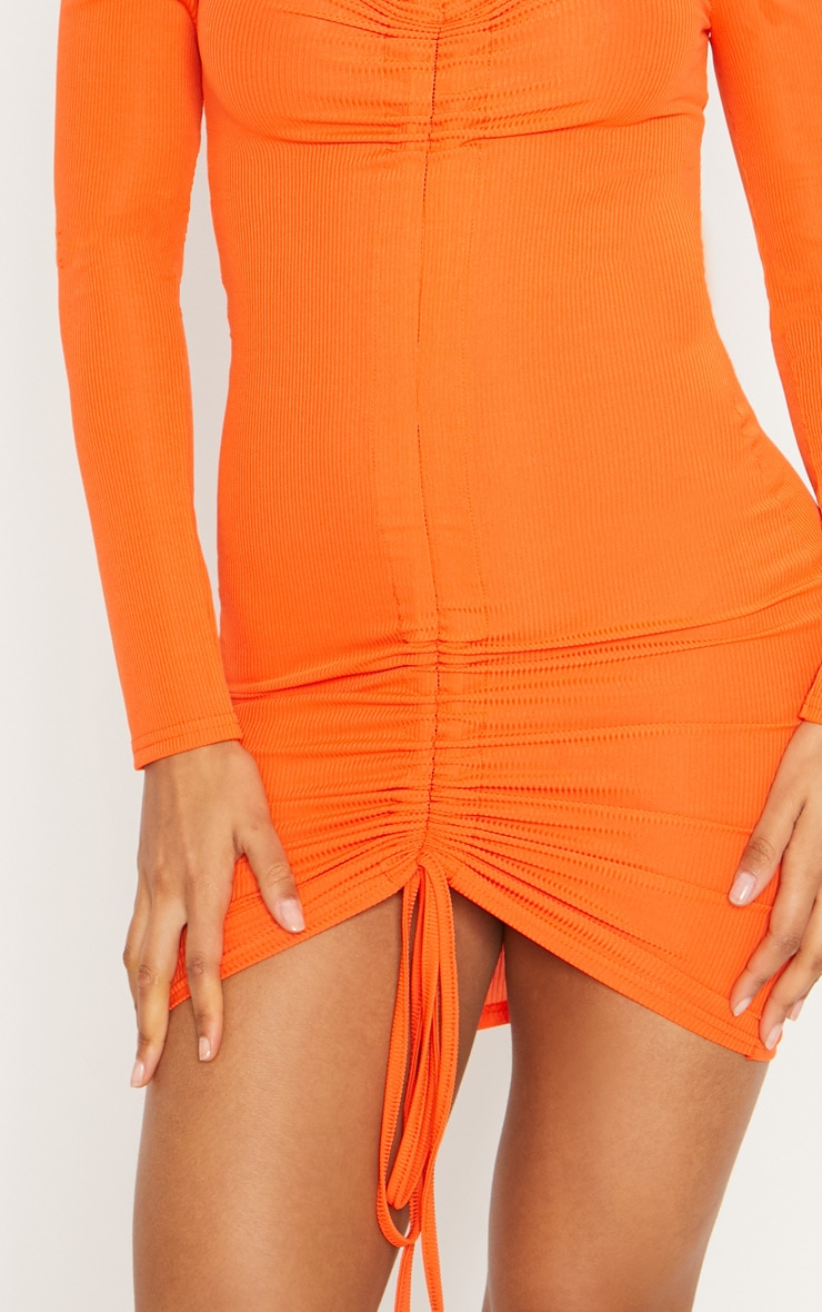 Orange Ribbed Long Sleeve Bardot Ruched Bodycon Dress 5
