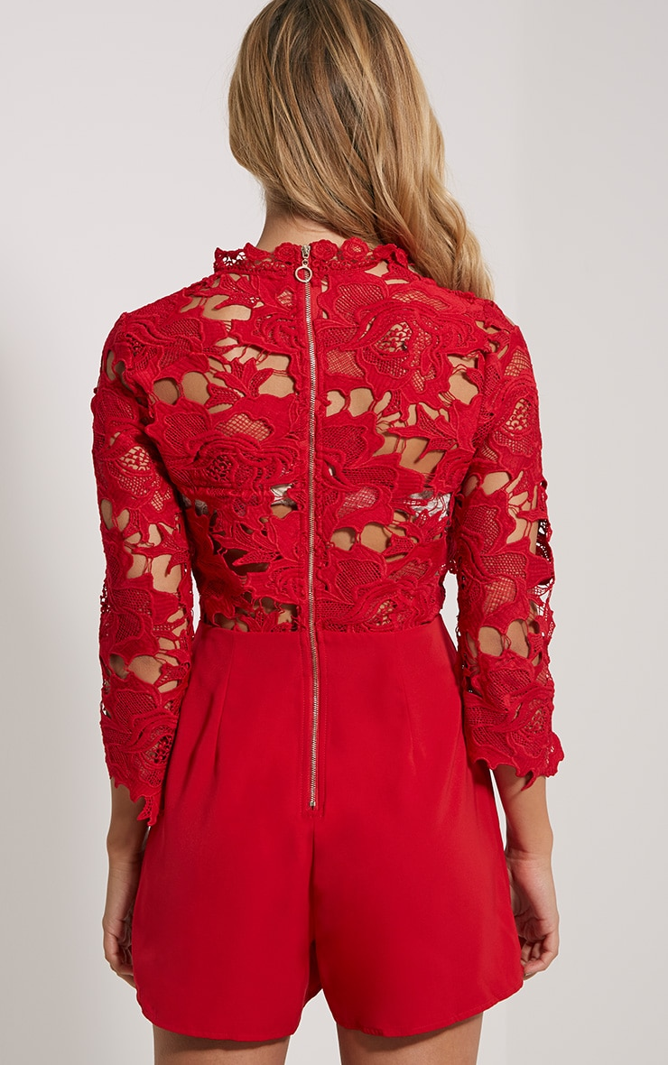 Elmira Red Lace Top Playsuit 2