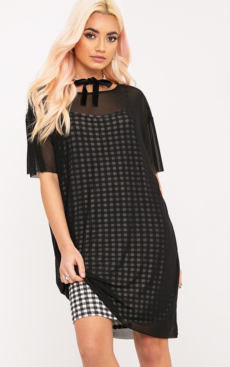 Kanayarr Gingham & Mesh 2-in-1 Dress Black 1
