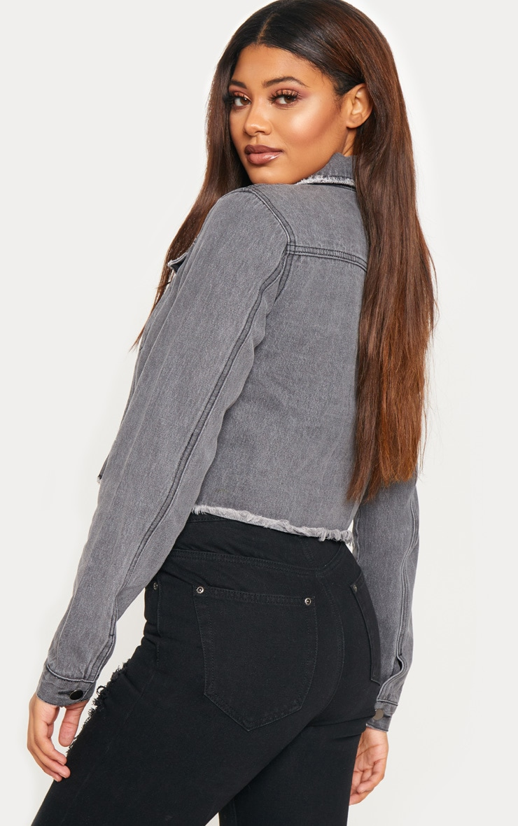 Tall Charcoal Cropped Denim Jacket 2