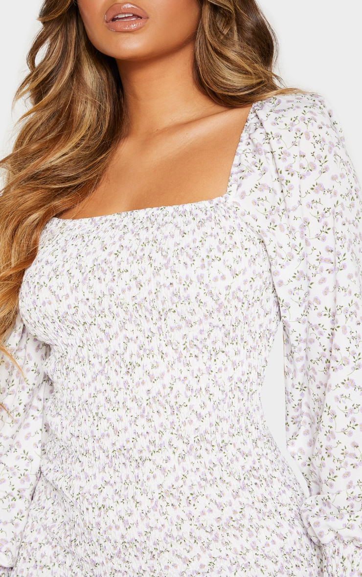 White Floral Print Puff Sleeve Shirred Dress 5