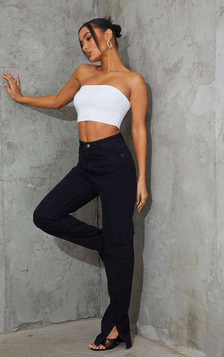 2 Pack Black and White Slinky Bandeau Crop Top  3