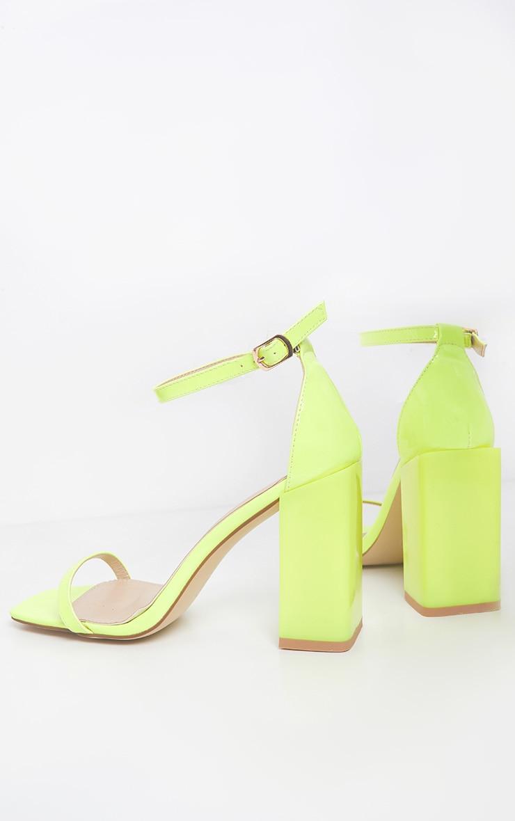 Neon Lime Chunky Block Heel Strappy Sandal 4