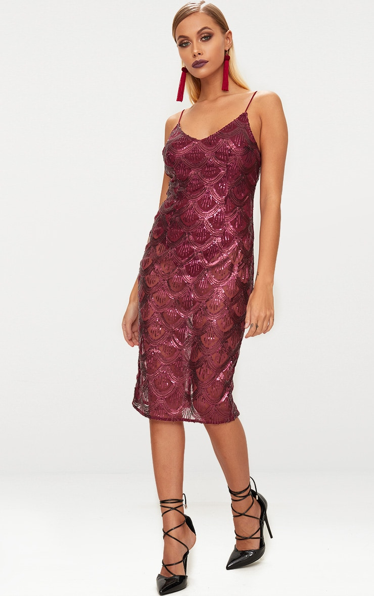 Burgundy Sequin Mesh Plunge Bodycon Midi Dress