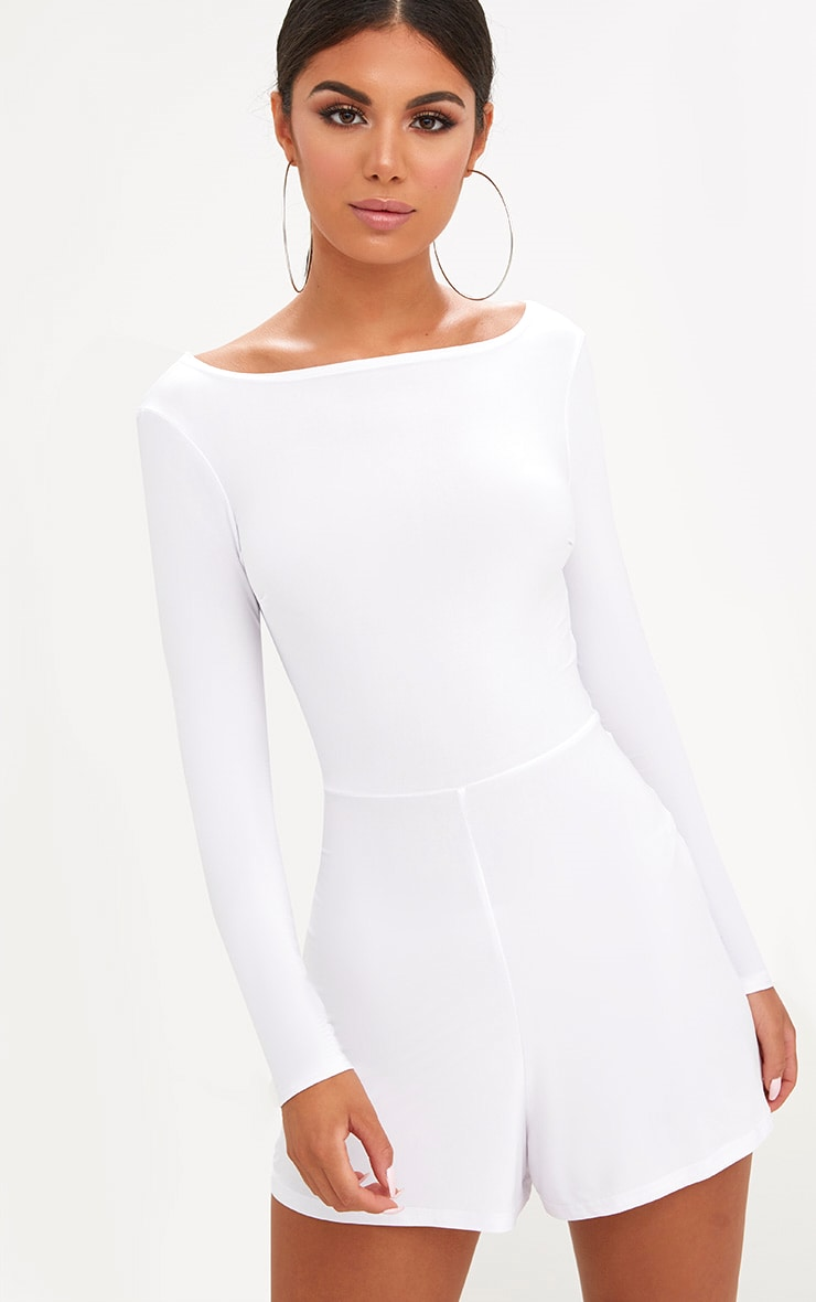 White Cowl Back Playsuit 2