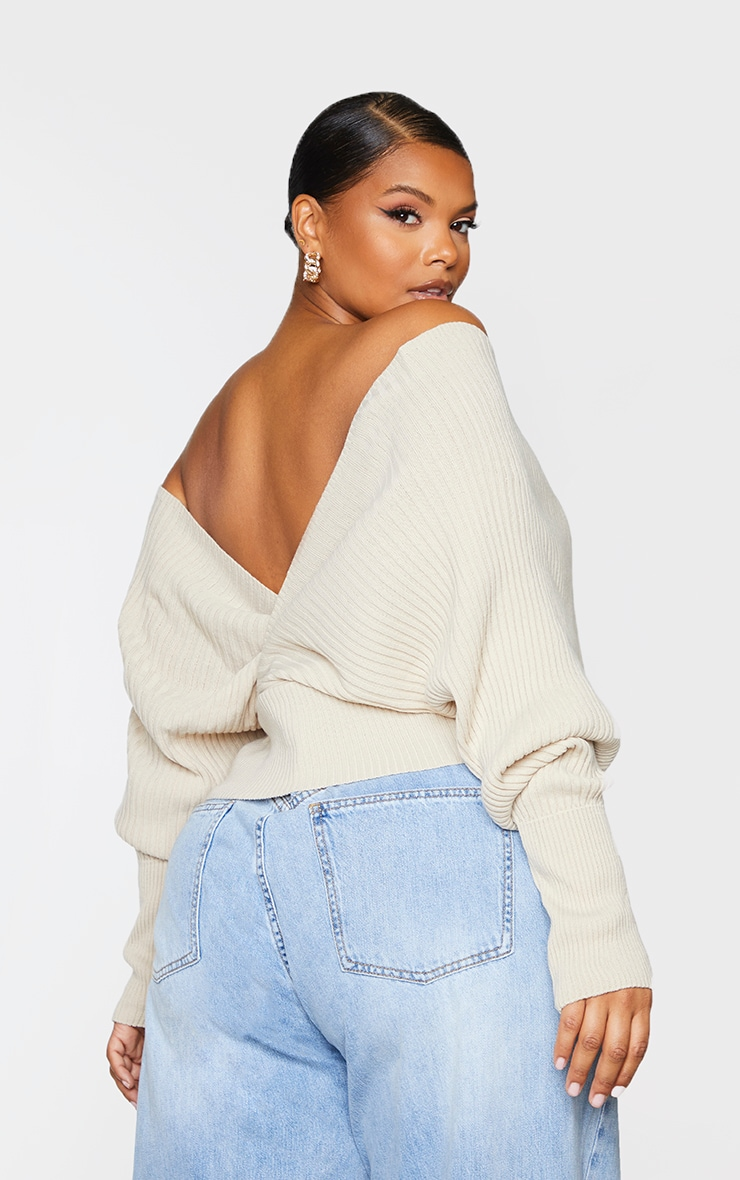 Plus Stone Wrap Off The Shoulder Sweater 2