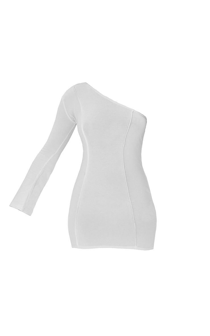 White Asymmetric Binding One Shoulder Bodycon Dress 5