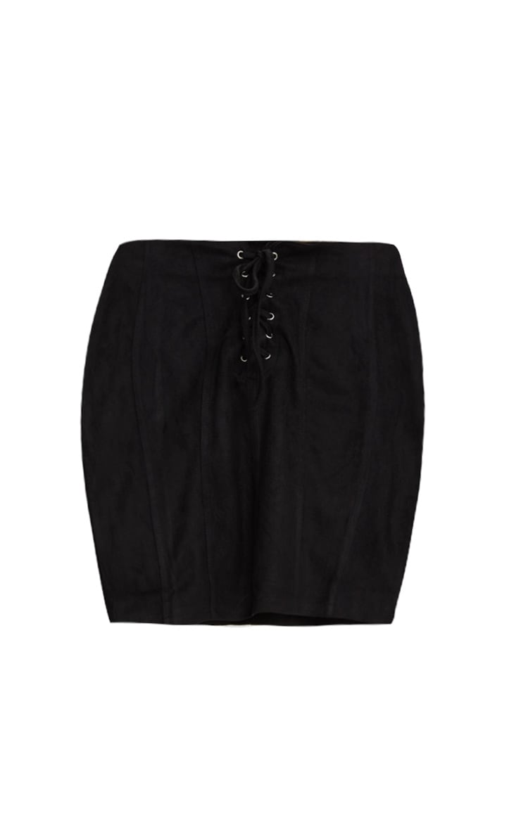 Black Faux Suede Seam Detail Lace Up Mini Skirt 3