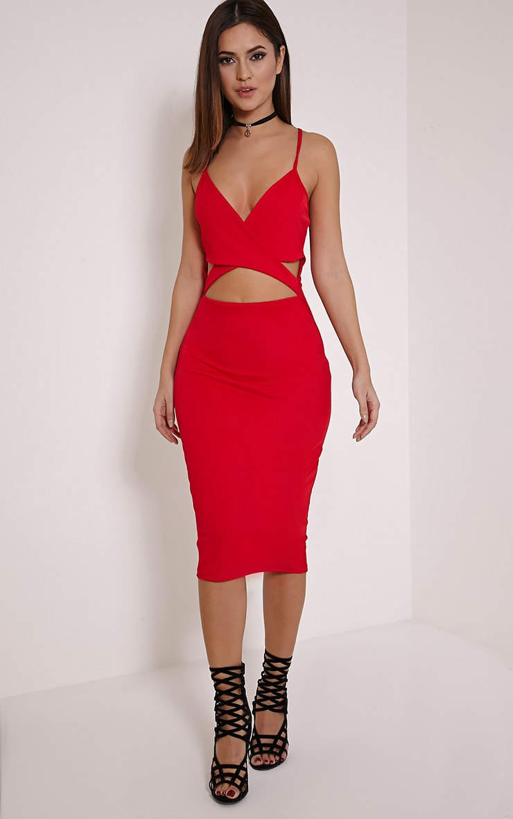 Maysie Red Cross Front Cut Out Bodycon Dress 1