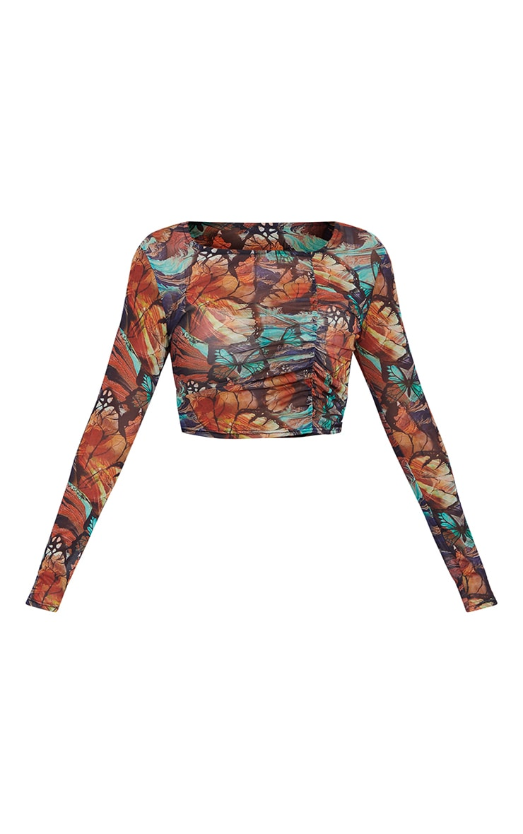 Petite Multi Butterfly Print Ruched Scoop Mesh Long Sleeve Crop Top 5