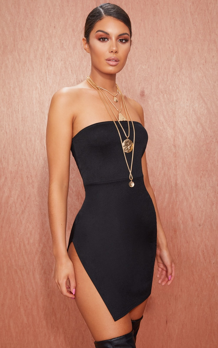 Black Crepe Split Side Bandeau Bodycon Dress 1