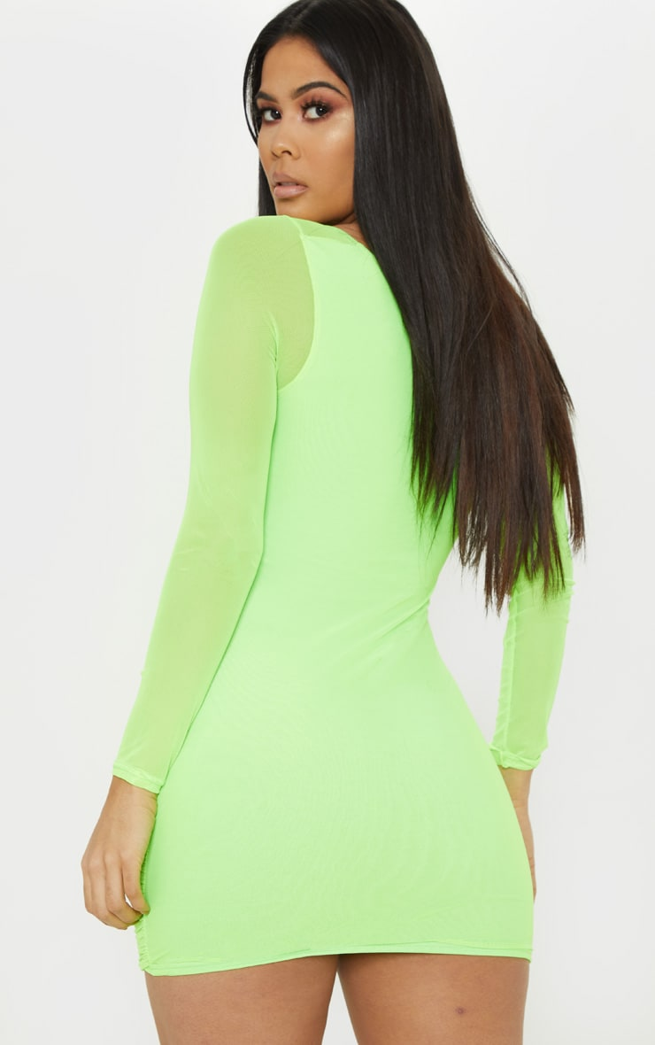 Neon Lime Mesh Square Neck Ruched Bodycon Dress 2